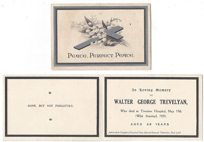 SAMPFORD PEVERELL Devon, Walter George Trevelyan In Memoriam Card 1929