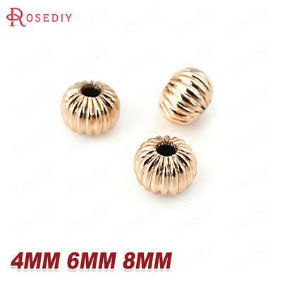 10PCS 4MM 6MM 8MM Quality Gold Color Brass Pumpkin Spacer Beads Jewelry Findings