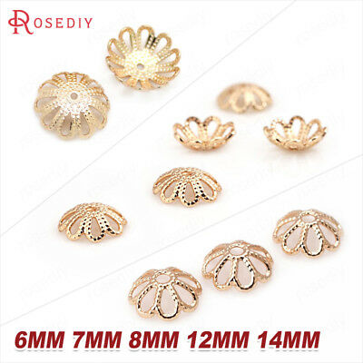 Quality Gold Color Brass Flower Beads Caps Jewelry Findings Earrings Findings