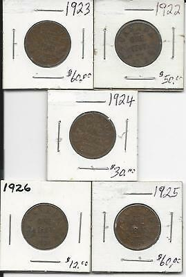 Small Canadian Penny Key Date Set 1922,1923,1924,1925,1926