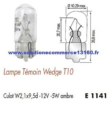 SET OF 2 LAMP BULB WITNESS WEDGE T10 12V 12 Volts 5W AMBER Base W2,1x9,5d