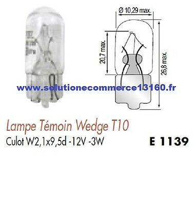 SET OF 2 LAMP BULB WITNESS WEDGE T10 12V 12 Volts 3W Base W2,1x9,5d