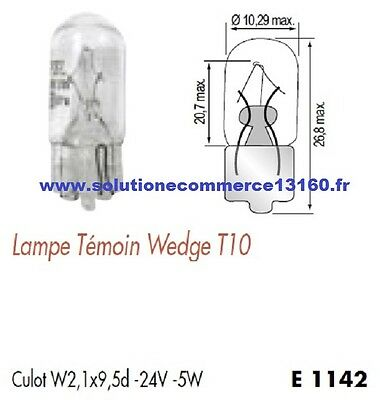 SET OF 2 LAMP BULB WITNESS WEDGE T10 24V 24 Volts 5W Base W2,1x9,5d