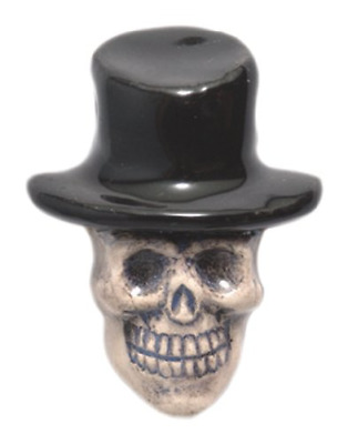 Shipwreck Beads 20 by 27mm Peruvian Hand Crafted Ceramic Skull Top Hat , Black,