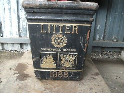 Large Cast Iron 1988 Glossop Veenendall  Litter Bin garden planter display