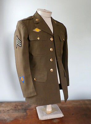 Vintage 1940s WW2 US Army USAF Wool Service Uniform Jacket w/ Patches Pins 37R