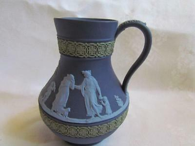 Wedgwood Portland Blue Pitcher with Green & White