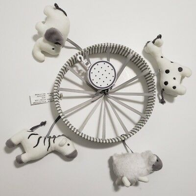 Cloud Island Musical Gray and White Crib Mobile EUC Mobile Only Baby Animals
