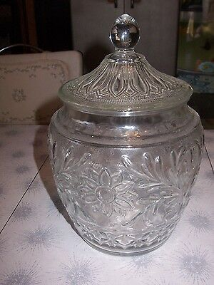 Vintage Tiara Clear Glass Daisy Large Canister~Cookie Jar~Biscuit~Apothecary