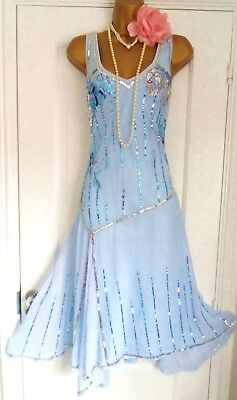 Vintage 1920s Style Gatsby Flapper Charleston Sequin Beaded Dress Size 16