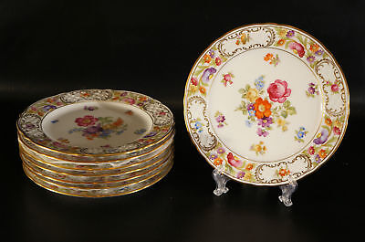 Set of 8 Schumann Bavaria Germany US Zone Dresden Flowers Salad plates.