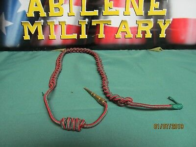 U.S. Army Fourragere French WWII Shoulder Cord green and red with Gold Tip New