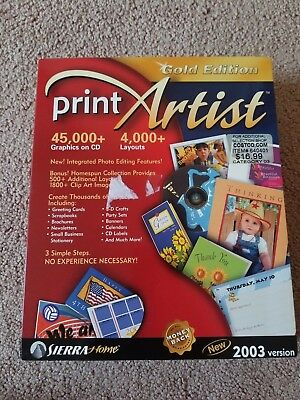 Print Artist 2003 Version Gold Edition PC CD Complete Free Shipping! Sierra Home