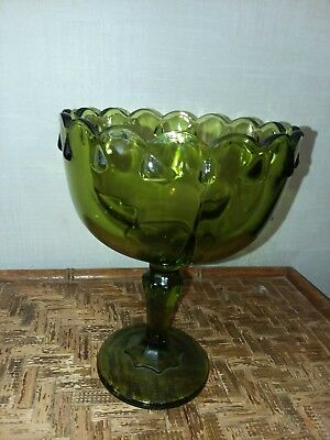 Vintage green Indiana glass compote with pedestal.  candy dish. planter....