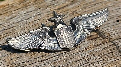 Wwii Us Army Air Force Senior Pilot Wing Sterling Silver