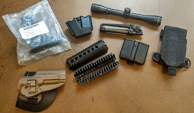 Misc gear lot(M9 Serpa Hoster, Mag pouches, iron sights, scope, buttstock)
