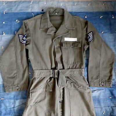 Vintage 1950s HBT US Army USAF Military Belted Coveralls Flight Suit 13 Star 38R