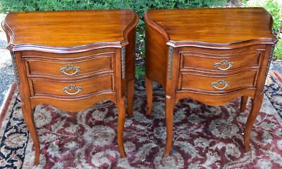 1930s French Style Mahogany two Drawers pair of Night Stands / End Tables