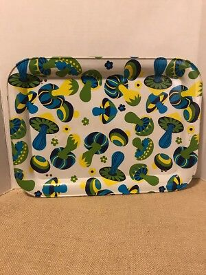 Vintage Mushroom TV Bed Tray Psychedelic Blue Green Yellow (248)
