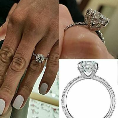 2.50 CT Solitaire Round Brilliant Diamond Engagement Wedding Ring in 925 Silver