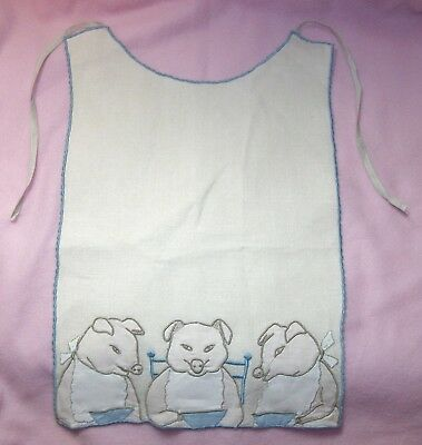 Sweet! Vintage MARGHAB Embroidery Linen THREE LITTLE PIGS Baby Bib