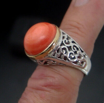 Coral Ring Sterling Silver Antique Style Unisex  Energetic Gem Gifts From Nature