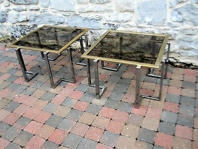 Lot de 2 table vintage laiton et verre Désign