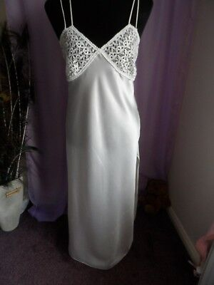 Vtg St Michael M&s Long Cream Silky Satin Look Nightdress Uk Sz 10 Bnwot