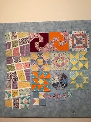 Miscellaneous Pieced Quilt Blocks Unfinished Reproduction Prints