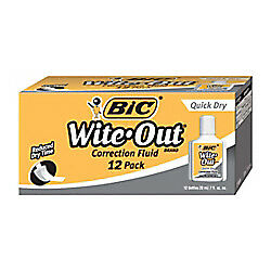 BIC Wite-Out Quick Dry White Correction Fluid With Foam Applicator, 12-Pk
