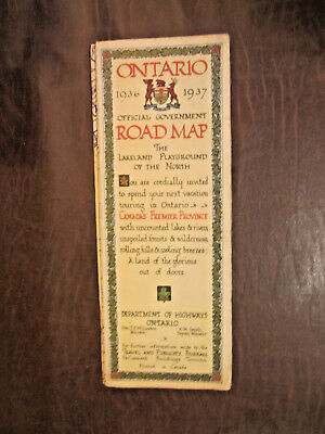 Vintage 1936 1937 Ontario Canada Official Government Road Map