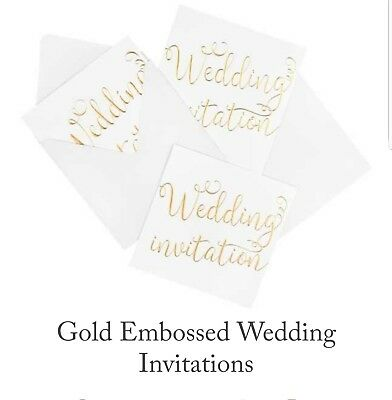 Wedding Invitations White and Gold Embossed Pack Of 10 Cards & 10 Envelopes.