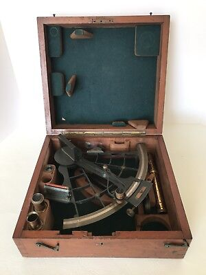 Antique Lilley & Son London Sextant Ships Nautical Original Wood Case Box Inlay