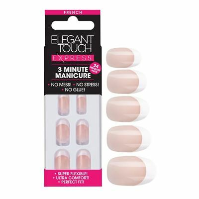Elegant Touch Express Faux Ongles - French Manucure Rose Ovale (24 Ongles)