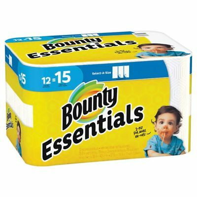 """Bounty Essentials 2-Ply Paper Towels, Select-A-Size, 11"""" x 5 7/8"""", White, 12-Pk"""