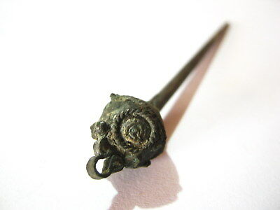 Byzantine Medieval Silver Plated Bronze Hair Pin Dress Pin.