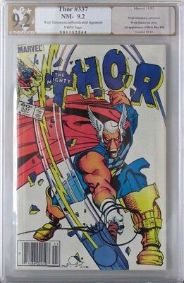 MARVEL'S THOR #337 1983 PGX 9.2 1st BETA RAY BILL SIGNED WALT SIMONSON! HOT BOOK