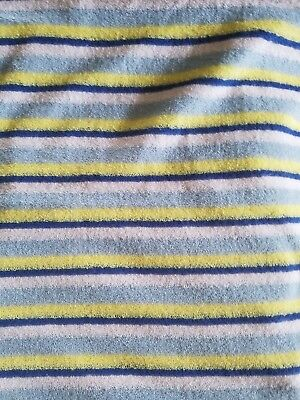 """Vintage Blue, Yellow, White Striped Terry Cloth Fabric. 2 Yards 38""""×72"""" Tennis"""
