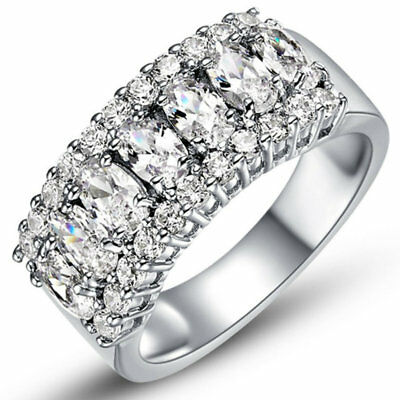 3.75 Ct Princess Cut AAA CZ Stainless Steel Wedding Ring Set Women's Size 6-9