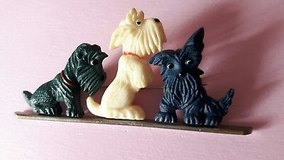 Vintage 30s/40s art deco scottie dogs brooch