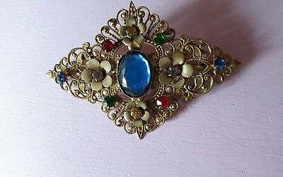 Large vintage filigree Czech glass stone brooch/art deco