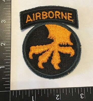 WW2 WWII US Army 17th Airborne Division Patch Attached Tab Para No Glow Rare