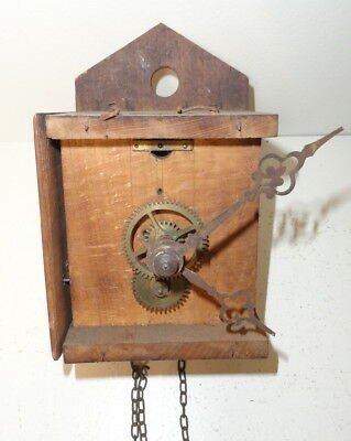 19th C. Brass Clock Works for Parts or Repair As Is Steampunk