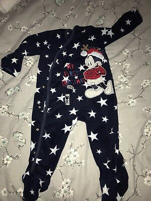 Baby Boys My First Christmas Fleece Baby Grow Age 9-12 Months
