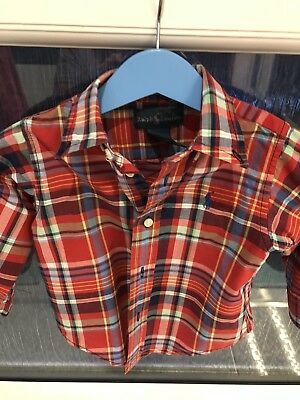 Baby Boys Checked Ralph Lauren Polo Shirt Age 9/12 Months