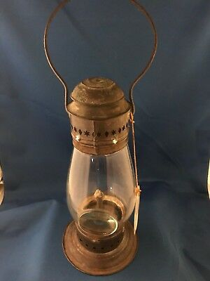 Antique Early American Tinned Steel Lantern Bullseye Glass Globe Circa 1815-1824