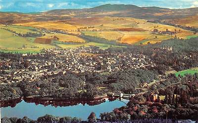 Pitlochry and Loch Faskally Lake Aerial view Panorama