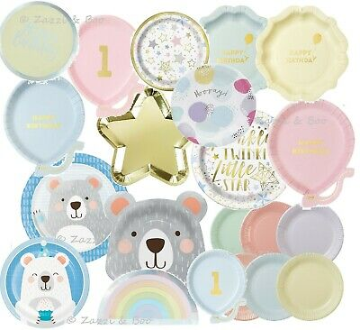 Pastel Pink Blue Gold Party Supplies 1st Birthday Tea PLATES Tableware New Baby