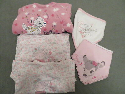 Girl's Sleepsuit Bundle - BAMBI, PEPPA PIG, two Dribble Bibs – Age 9-12 months