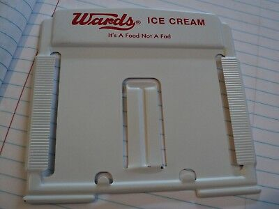 Vintage Wards Ice Cream Advertising Metal White Painted Memo Sign Holder